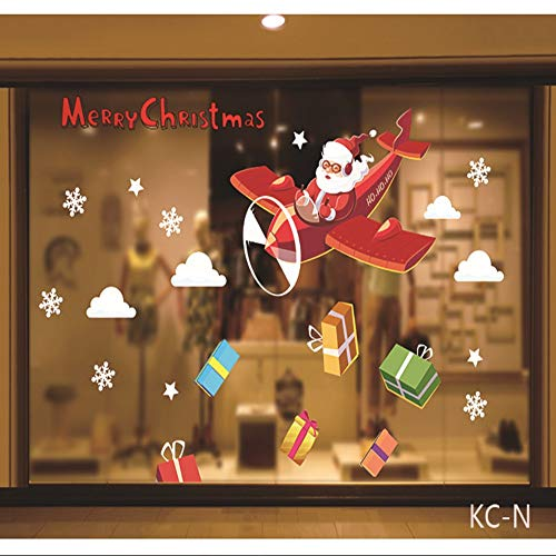 WHFDRHQT Weihnachts-Wandaufkleber Weihnachtsdekoration Szene Arrangement Dress Up Fenster Wandaufkleber Glasfenster Aufkleber Santa
