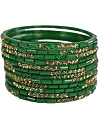 Sylque Beautiful Green Glass Bangles With Golden Nagh And Green Colour Glass Cut Work