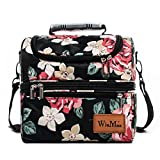 Lunch Bag, Insulated Lunch Box Large (12L) Cooler Tote Bag / Waterproof Double Deck Cooler for Men, Women by Winmax (Black with Flower)