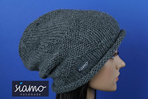 Winter-Mütze Beanie CHOSICA Unisex 100% Baby-Alpaka dunkelgrau von siamo-handmade