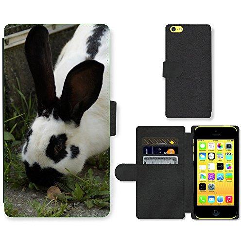 Just Mobile pour Hot Style Téléphone portable étui portefeuille en cuir PU avec fente pour carte//m00138864étal Hase lièvre nager Noir et Blanc//Apple iPhone 5C