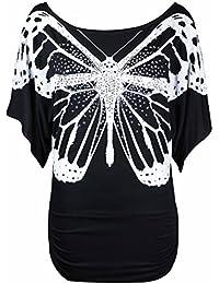 Neu Damen Glitzer Pailletten Schmetterling Bedruckt Oberteile Damen Fledermausärmel Kurzärmelig Stretch Fit T-Shirt Top