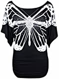 Neu Damen Glitzer Pailletten Schmetterling Bedruckt Oberteile Damen Fledermausärmel Kurzärmelig Stretch Fit T-Shirt Top - Schwarz, 40-42