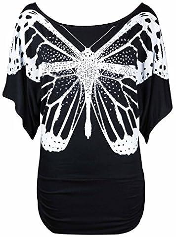 Neuf Femmes Paillette à sequins Imprimé Papillon Haut Chauve-souris Femmes Manche Courte Extensible Haut T-Shirt - Noir, EU 40-42