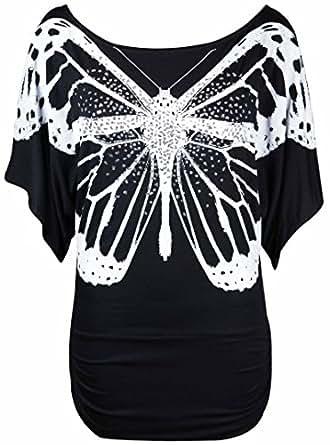 Neu Damen Glitzer Pailletten Schmetterling Bedruckt
