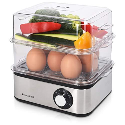 Navaris Hervidor de Huevos de Acero Inoxidable con Temporizador - 1-16 Huevos - con Vaso medidor - Función de escalfar y vaporera