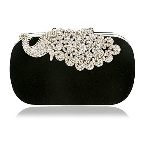 Frauen Diamante verkratzte Strass Pfau Samt Party Clutch Abendtaschen (schwarz) (Samt-abend-handtasche)