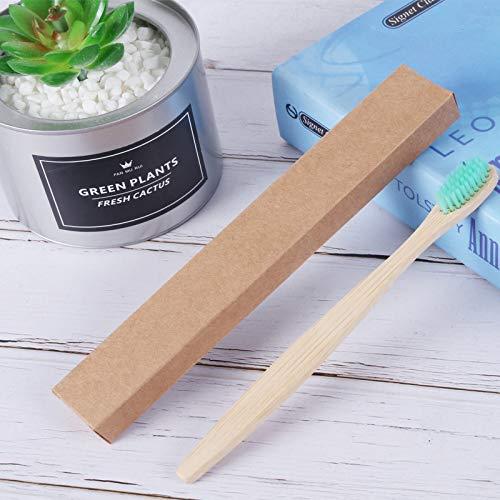 Flache Puppenkopfbambusbambuszahnbürste abbaubare Weichhaarzahnbürste Bio-Bambuszahnbürste 4 Zahnbürste - Weichgrün