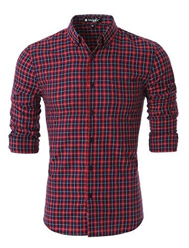 Allegra K Herren Punkt Kragen runder Saum Plaid mit Langen Ärmeln Taste Unter Shirt Rot M (EU 48) - Baumwolle Plaid Button Front Shirt