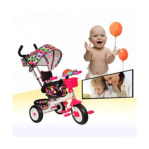3 In 1 Childrens Tricycles 12 Months To 6 Years 3-Point Safety Belt Kids Tricycle Rear Wheel With Brake Folding Sun Canopy Child Trike Maximum Weight 30 Kg Birthday Present,Green BGHKFF ★Material: Steel pipe, suitable for children aged 1-6, maximum weight 30 kg ★ 3-in-1 multi-function: convertible into stroller and tricycle. Remove the hand putter and awning as a tricycle. ★Safety design: gold triangle structure; 3-point seat belt + guardrail; rear wheel double brake; safety belt 2