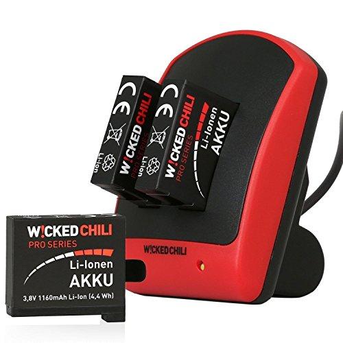 Wicked Chili GoPro Hero4 5in1 Set - Duo Ladegerät + 3 Akkus (Pro Series Batterie 1160mAh Typ AHDBT-401) + microUSB auf USB-A Ladekabel (für Hero4 Silver / Hero4 Black Actioncam), 5in1 Set - Dual Charger + 3x Akku + Ladekabel