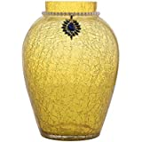 Homesake Crackle Flower Pot with Brooch Neck Gold Yellow
