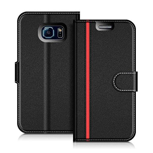 COODIO Housse Cuir Samsung Galaxy S6 Edge, Étui Coque en Cuir Samsung Galaxy S6 Edge, Housse Portefeuille Magnétique avec La Fonction Stand pour Samsung Galaxy S6 Edge, Noir/Rouge
