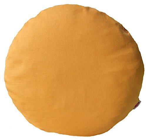 beties Farbenspiel Kissenhülle rund ca. 40 cm Ø Baumwoll-Serie in Uni (Gold-gelb)