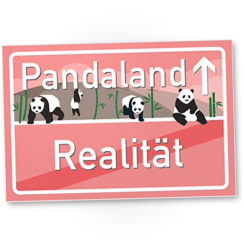 Pandaland rosa - Panda Kunststoff Schild, kleines Geschenk für sie - süße Deko, Wanddeko Schoko, Türschild Mädchen Wohnung / Zimmer, Geschenkidee Geburtstagsgeschenk beste Freundin, Party Deko