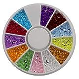 Kongqiabona Nail Art 3mm 12 Colori Taglienti Fondo Sciolto Diamante 6 cm Piccolo Disco chiodo Gioielli Trapano chiodo Giradischi Professionale