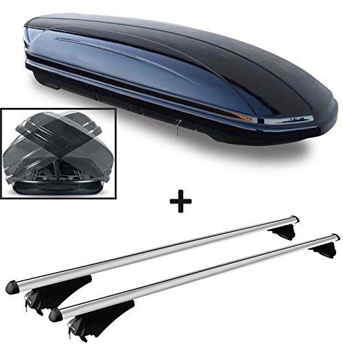 Dachbox schwarz glänzend VDP-MAA 580 DUO Auto Dachkoffer beidseitig aufklappbar 580 Liter abschließbar + Alu-Relingträger Dachgepäckträger für aufliegende Reling im Set für Hyundai Tucson (TL) ab 2015