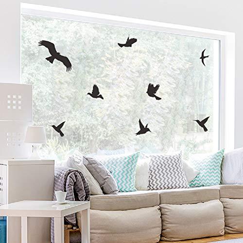 WandSticker4U- 21 VÖGEL zum Aufkleben in Schwarz | Vogelschutz für Fenster | Fensterbild Warnvogel...