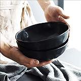 SLW Bol en céramique Noire Bol à Salade de Fruits Bol à Nouilles instantanée Ramen