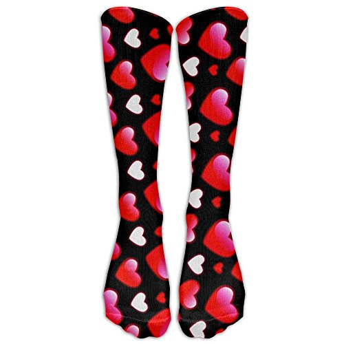 Valentine Day Heart Love Pattern Printed Men's/Women's Comfortable Casual Funny Long Knee High Socks compression-socks Winter Warm Soccer Socks Smartwool Striped Hat