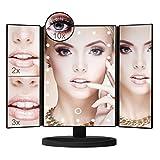 Aidonger Schminkspiegel mit Licht, Kosmetikspiegel beleuchtet, Make-up Spiegel mit 22 LED-Beleuchtung, 1X 2X 3X 10X Vergrößerungsspiegel (Schwarz)