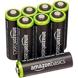AmazonBasics - Juego de 8 pilas recargables AA Ni-MH (precargadas, 1000 ciclos, 2000mAh/mínimo 1900mAh) - La cubierta exterior puede variar