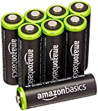 AmazonBasics Lot de 8 piles rechargeables Ni-MH Type AA 1000 cycles 2000 mAh/minimum 1900 mAh (design variable)