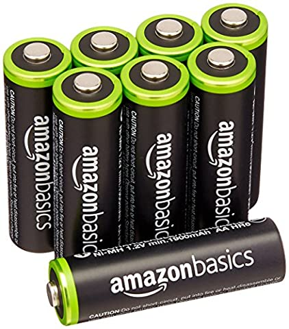 AmazonBasics AA Pre-Charged Rechargeable Batteries 2000 mAh / minimum: 1900 mAh [Pack of 8] - (Batterie Aa Ricaricabili)