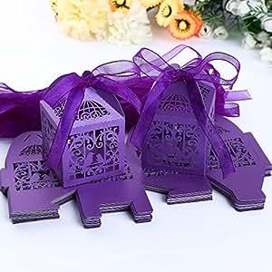 25x Boîte à dragées bonbons Cage Oiseaux Coeur Violet nacré irisé pr Mariage Baptême