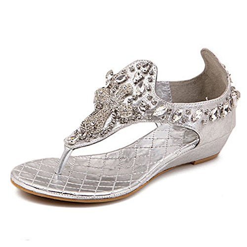 Zicac Damen Keilabsatz Sandalen 3,5 cm hoch Strass Bead Stilvoll Schuhe im Modern Design Silber