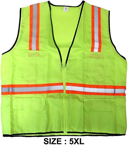 toolusa vif Gilet de sécurité avec bandes réfléchissantes Vert Fluo, Taille Adulte 5 x Grand : sf-33718