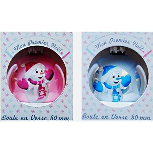 Boule de Noel en Verre Mon Premier Noël - Couleur Rose - Décoration Sapin Bébé - 012