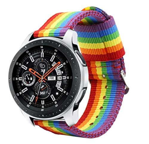Estuyoya - Bracciale in Nylon Compatibile con Samsung Gear S3 Frontier/Classic/Galaxy Watch 46mm Colori di Orgoglio Gay LGBT,...