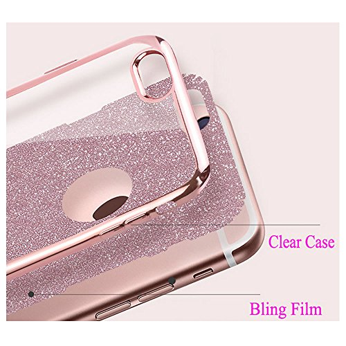 Sycode Custodia Cover per iPhone 6S 4.7,Custodia Bumper per iPhone 6 4.7,Ultra Slim Resistenti Anti-scratch Soft TPU Silicone Gomma Gel Intarsiato Glitter Brillantini Bling Confine di Placcatura Dis Oro