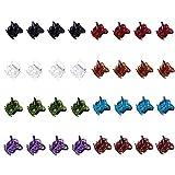 32 pièces de mini pinces à cheveux en plastique pour femmes Petites filles Pinces à cheveux colorées (blanc, noir, bleu, marron, marron-clair, violet, vert et rouge-vin)