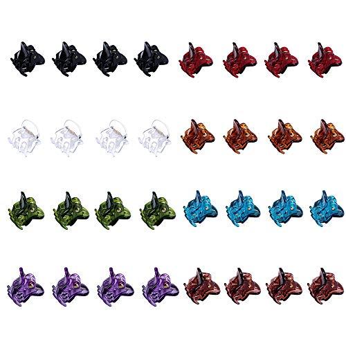32 Stück Mini Plastic Hair Claws für Frauen Kleine Mädchen Bunte Haarnadeln Klemmen (Weiß, Schwarz, Blau, Braun, Hellbraun, Lila, Grün und Weinrot)