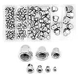 Yuhtech Assortiment d'écrous Hexagonaux à Tête, 180 Pcs écrous Borgnes en Acier Inoxydable M3, M4, M5, M6, M8, M10, M12