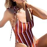 Einteiliger Badeanzug, Gestreift Drucken One Piece Monokini Sexy Off Shoulder Swimsuit Bandage Rückenfrei Bikini Set EIN Stück Bademode Bandeau Beachwear Elegante Badebekleidung (L, Mehrfarbig)