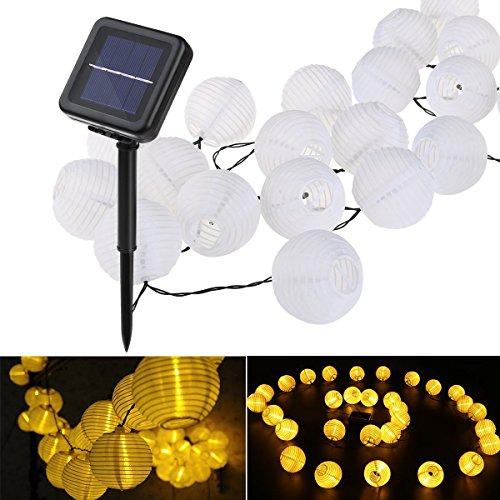 (Lampion Solar String-Leuchten, YUNLIGHTS 21.3ft 30 LED Wasserdicht Solarenergie Draußen Leuchten mit 8 Modellen, Weihnachten oder Party Dekorationen für Garten, Hause, Rasen (Warmweiß))