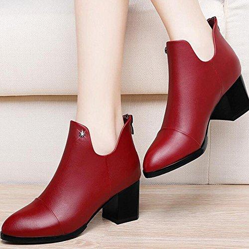 L@YC Femmes Talons hauts Chaussures Chunky Talons Bottes courtes au printemps et automne Tipped Martin Boots / Noir / Rouge red
