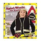 FASCHING 1552 Kinder-Kostüm Spiel-Weste Feuerwehr schwarz NEU/OVP: Größe: 140