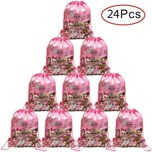 Micher 24 Pack LOL Drawstring Party Bag, Bomboniere Borse Drawstring Zaini Regali Borse Articoli per Feste di Compleanno Bomboniere per Bambini Bambini Ragazze Baby Shower