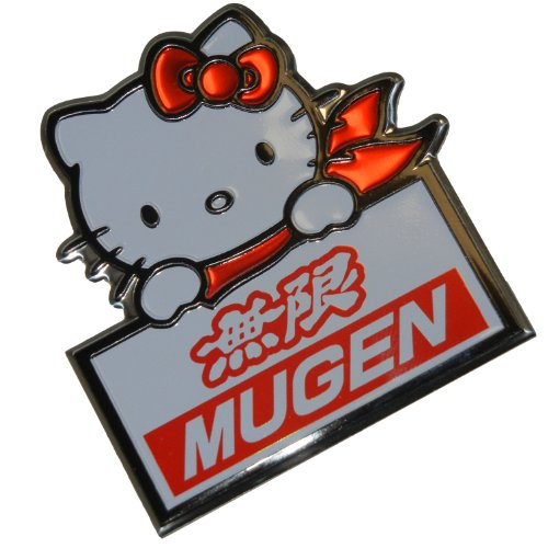 Honda Emblem Rsx (Mugen Power Sanrio Hello Kitty Black Red White Aluminum Emblem Badge Nameplate Logo Decal Rare Japan JDM for Honda Acura Civic Fit Prelude Integra RSX Accord Si TSX CL TL GSR LS EK9 EK EG)