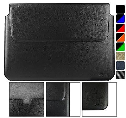 Emartbuy HP Envy 13 Ultrabook 13.3 Pouce Noir PU Cuir Magnétique Etui Coque Case Portefeuille Wallet Sleeve ( 13.3 to 14 Pouce )