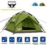 Bird-Watcher Camping Zelt Pop Up Outdoor Zelt Automatische Wurfzelt Leicht Trekkingzelt Familienzelt für 3-4 Personen, Doppeltüren, 3-Jahreszeiten-Zelt, Inklusive Tragetasche (Grün)