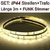 DELLOPTOELECTRONICS Set: IP44 3528 LED Streifen WARMWEISS + Trafo + Dimmer mit Funk Fernbedienung (3 Meter)