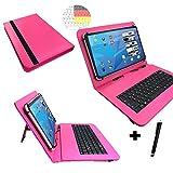Allview Viva H1001 LTE - Qwertz Tastatur Tablet Tasche 10.1 mit Standfunktion - Deutsche Tastenbelegung - 10.1 Zoll Pink Tastatur