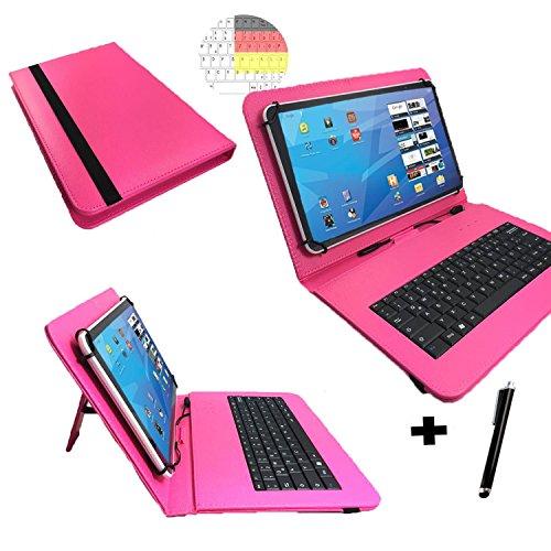 Hip Street Scanner (Deutsche QWERTZ Tastatur für Hip Street Phantom 2 Schutz Hülle Etui Case - 10.1 Zoll Pink Tastatur)