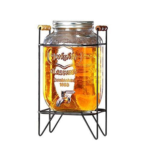 Mason Jar Restaurant (CSQHCZS-FQ Einmachglas Getränkespender mit Ständer | 4L / 5L / 8L Getränkespender mit Auslaufsicherem Zapfen und Deckel Kaltsaftspender | Parteien Restaurants Hotels Buffets ++)