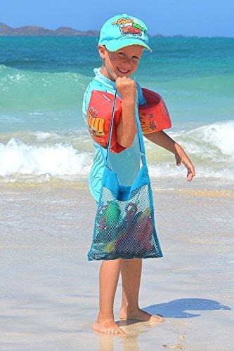 Mesh Strandtasche Wasser&Sand Weg (Satz von 4) Perfekt fur Palm Beach Camping Reisen Shell Collection Badeanzug&Strand Spielzeug Wiederverwendbare Aufbewahrungsbeutel fur Erwachsene Teens Kinder.